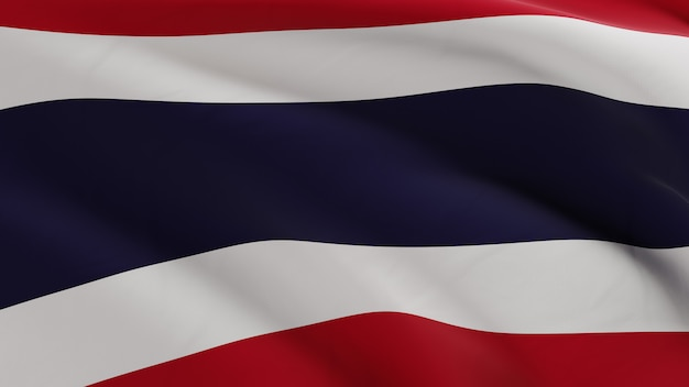 Flag of thailand waving in the wind, fabric micro texture in quality 3d render