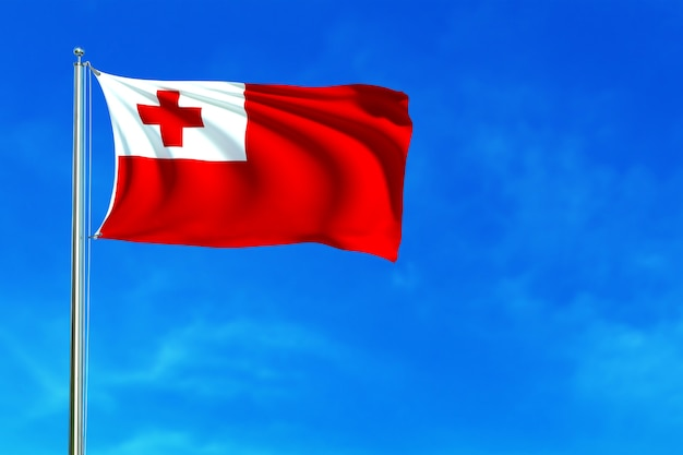 Flag of tonga on the blue sky background 3d rendering