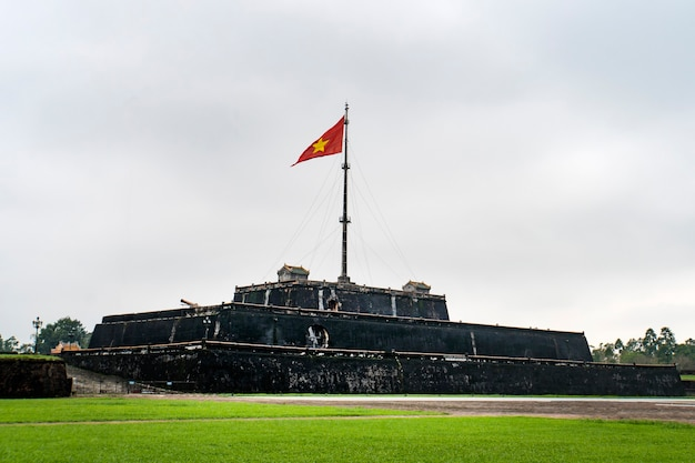Flag tower at the imperial city in hue. vietnam, indochina. historical sights of vietnam.