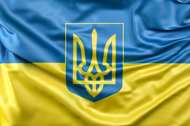 Flag of ukraine with coat of arms