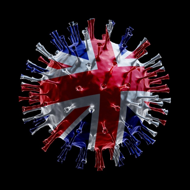 Flag of the united kingdom on covid-19 is virus concept. 3d rendering