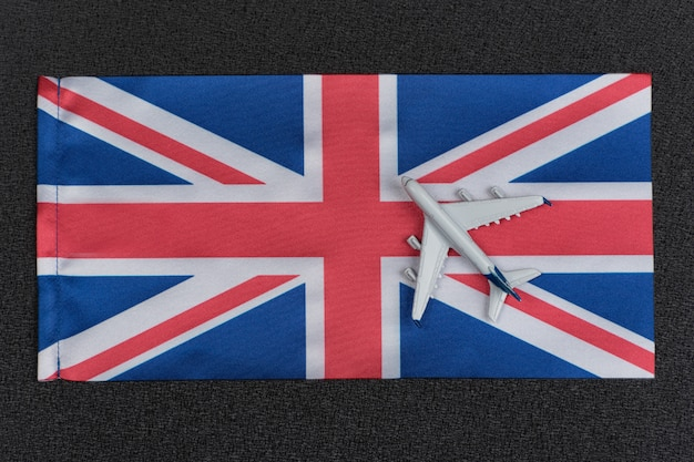 Flag of united kingdom and toy airplane
