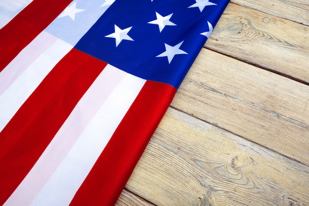 Flag of the united states of america on wood