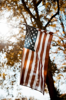 Flag of the united states in a vertical shot with a blurred
