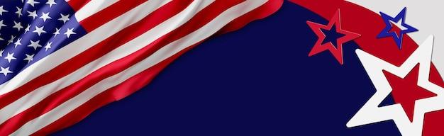 Флаг сша фон дизайн для независимости, ветеранов, труда, день памяти. дизайн баннеров Premium Фотографии