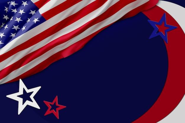 Флаг сша фон дизайн для независимости, ветеранов, труда, день памяти. дизайн баннеров