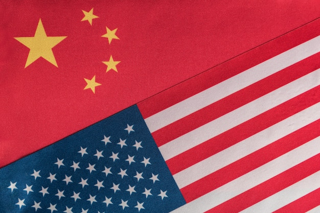 Flag usa and china close up. relationship between america and china