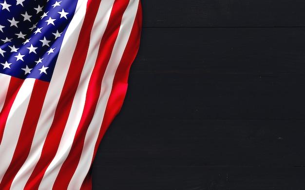 Флаг сша на фоне черного дерева