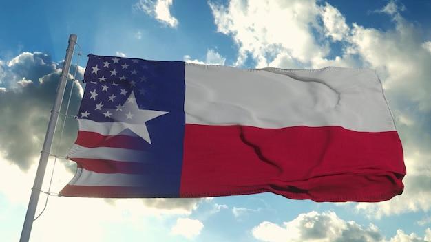 Flag of usa and texas state