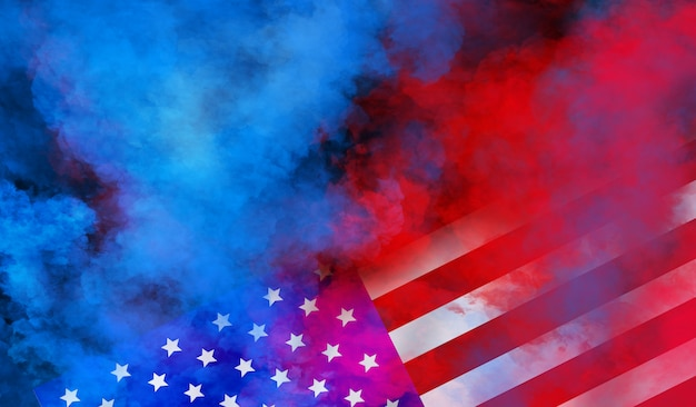 Flag usa wall design for independence, veterans, labor, memorial day. colorful smoke on black wall