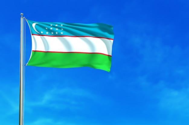 Flag of uzbekistan on the blue sky background 3d rendering