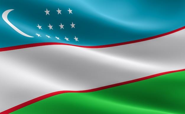 Flag of uzbekistan. illustration of the uzbek flag waving.