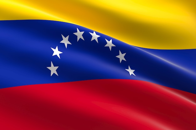 Flag of venezuela. 3d illustration of the venezuelan flag waving