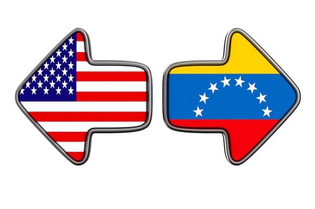 Флаг венесуэлы и сша на белой поверхности. изолированная иллюстрация 3d.