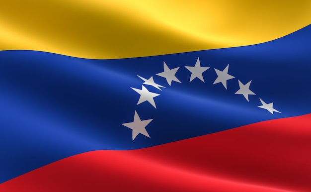 Flag of venezuela. illustration of the venezuelan flag waving.