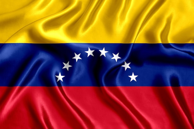 Flag of venezuela silk close-up