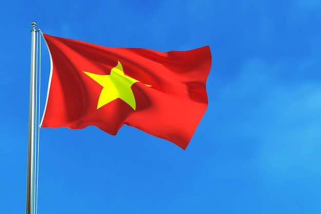 Flag of vietnam on the blue sky background