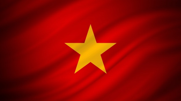 Flag of vietnam on red canvas
