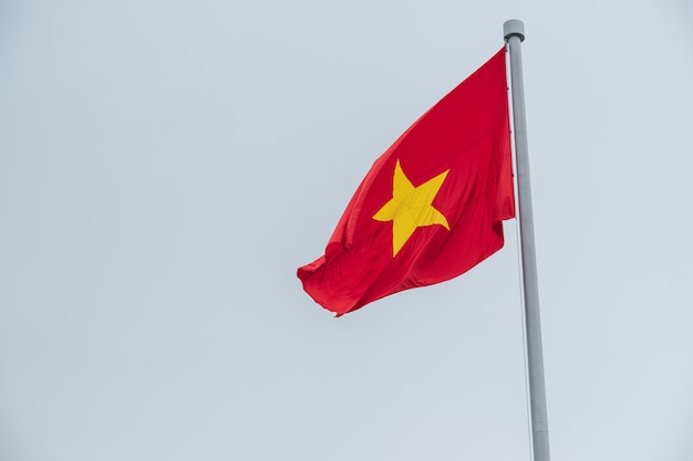 Flag of vietnam in the sky.