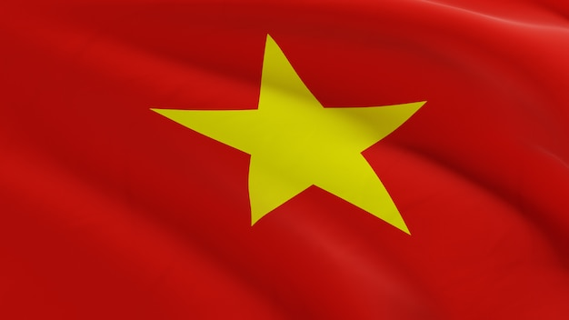 Flag of vietnam waving in the wind, fabric micro texture in quality 3d render