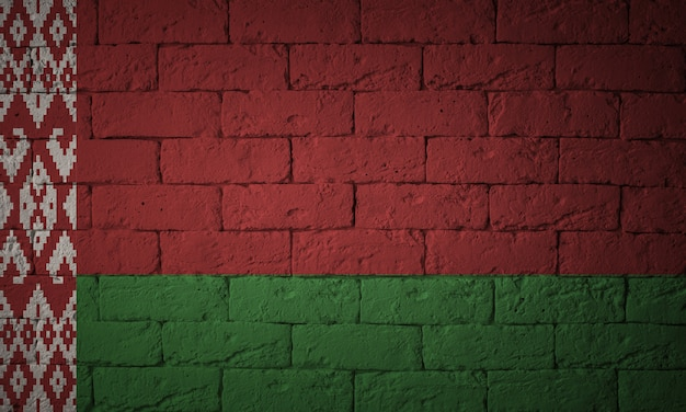 Flag with original proportions. closeup of grunge flag of belarus.