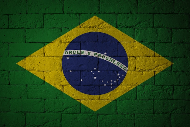 Flag with original proportions. closeup of grunge flag of brazil