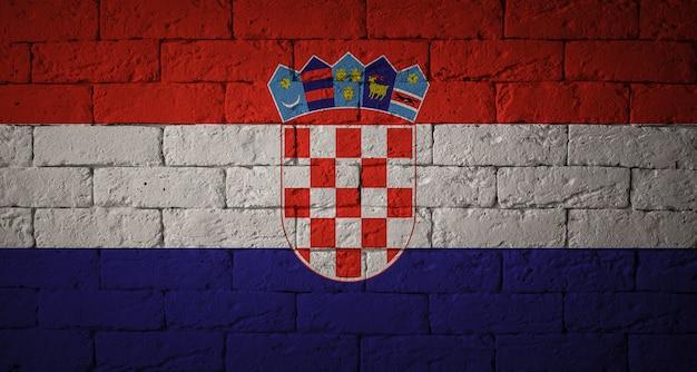 Flag with original proportions. closeup of grunge flag of croatia