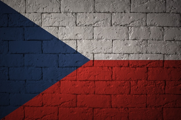 Flag with original proportions. closeup of grunge flag of czech republic