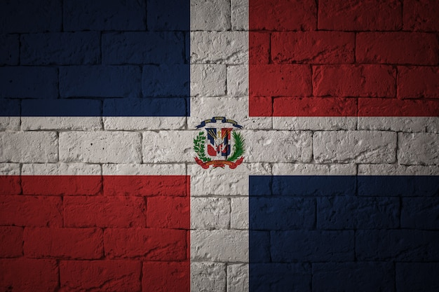 Flag with original proportions. closeup of grunge flag of dominican republic
