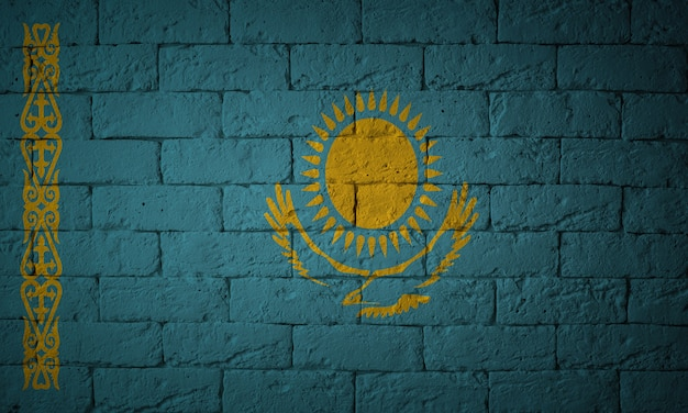 Flag with original proportions. closeup of grunge flag of kazakhstan