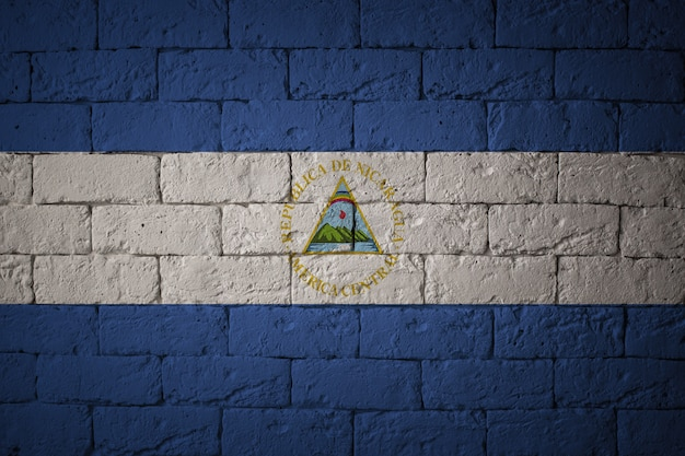 Flag with original proportions. closeup of grunge flag of nicaragua