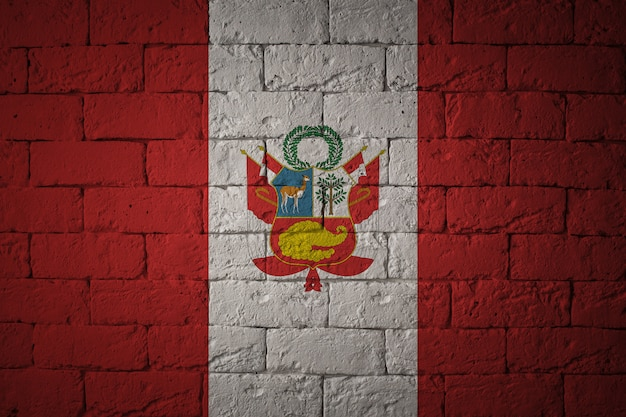 Flag with original proportions. closeup of grunge flag of peru