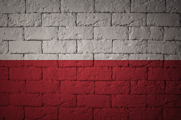 Flag with original proportions. closeup of grunge flag of poland