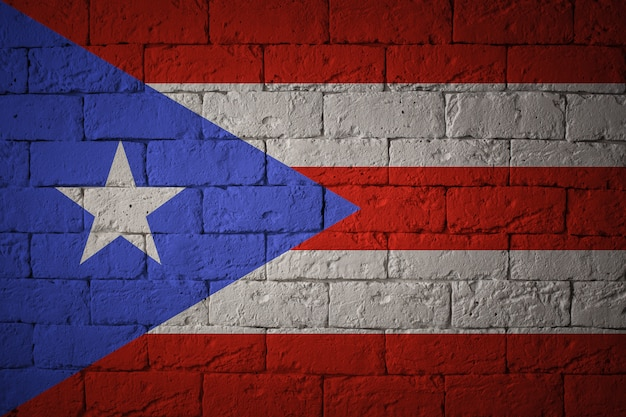 Flag with original proportions. closeup of grunge flag of puerto rico