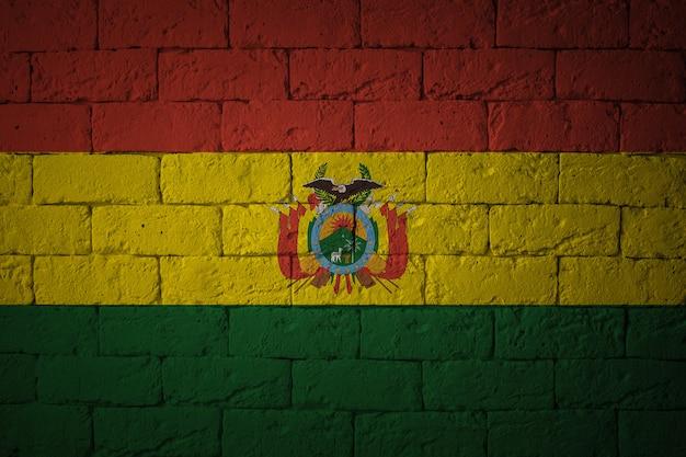 원래 비율로 플래그를 지정하십시오. 볼리비아의 그런 지 국기의 근접 촬영