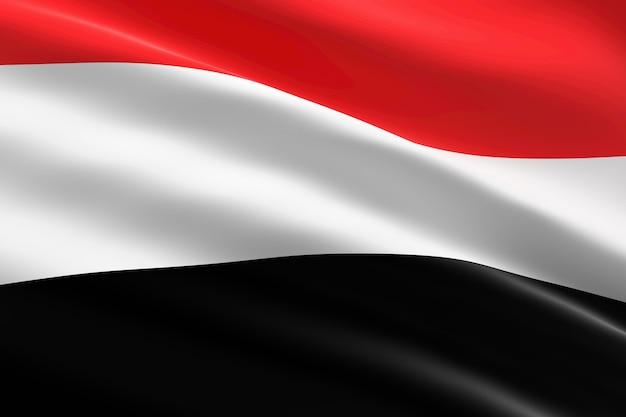 Flag of yemen. 3d illustration of the yemeni flag waving