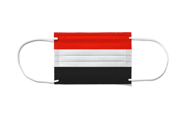 Flag of yemen on a disposable surgical mask