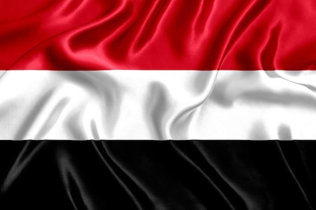 Flag of yemen silk close-up