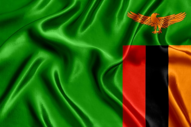 Flag of zambia silk close-up