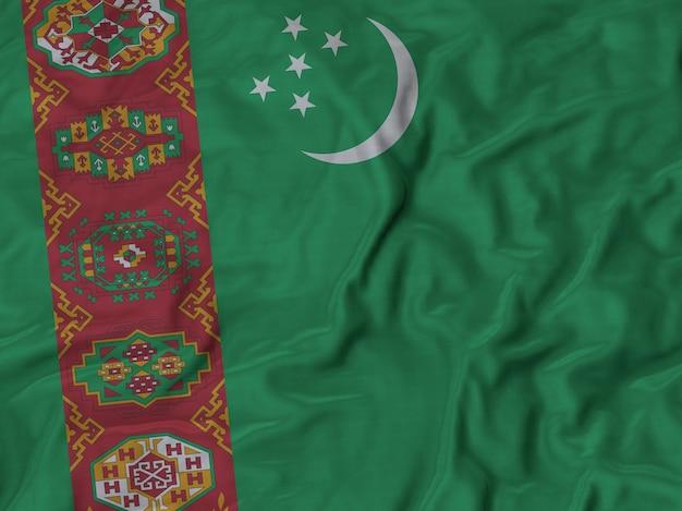 フリルのトルクメニスタンflagのクローズアップ