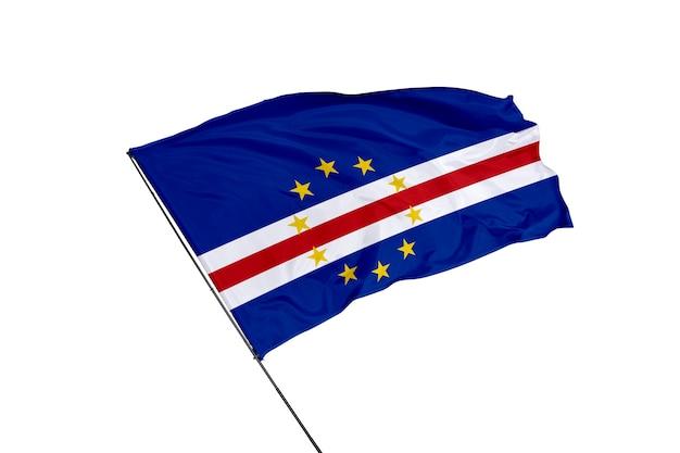 Отмечен флаг кабо-верде на белом фоне