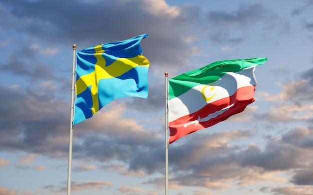Flags of bangsamoro and sweden. 3d artwork