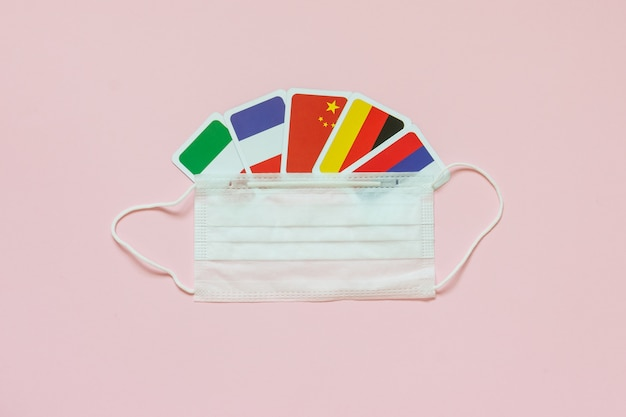 Flags of countries france, italy, russia, germany, china protective medical mask