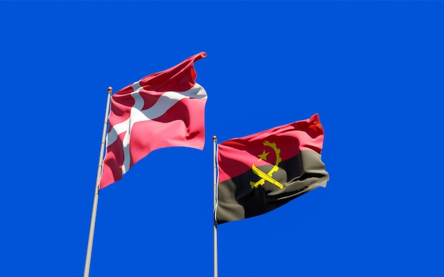 Flags of denmark and angola