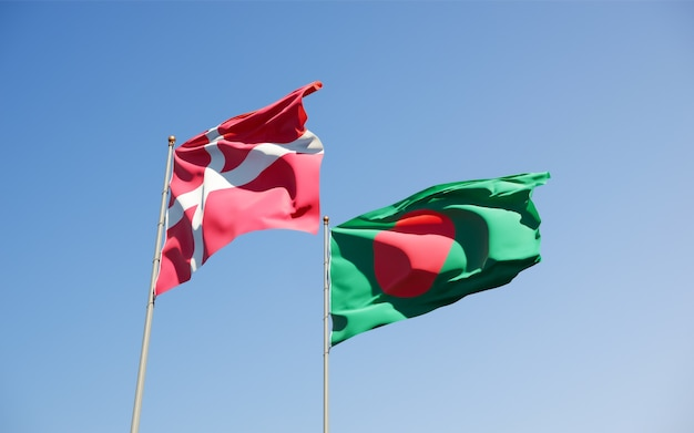 Flags of denmark and bangladesh.