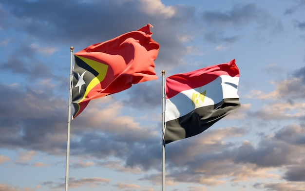 Flags of east timor and egypt. 3d artwork