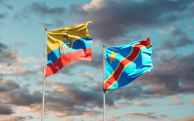 Flags of ecuador and dr congo on sky background