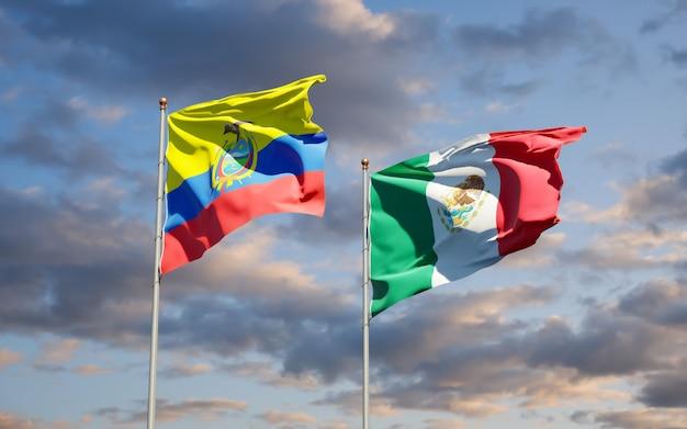 Flags of ecuador and mexico. 3d artwork