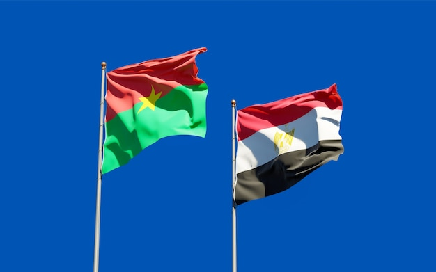 Flags of egypt and burkina faso. 3d artwork