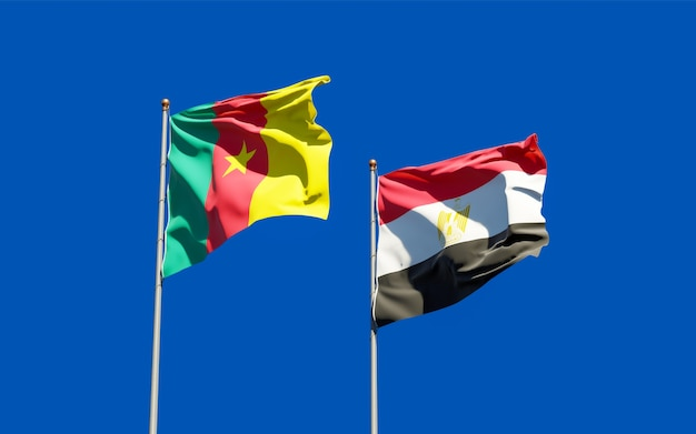 Flags of egypt and cameroon. 3d artwork